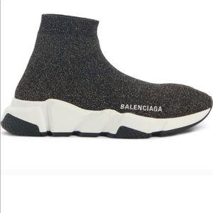 NIB Balenciaga Metallic Knit Sock Sneakers